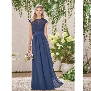 Jasmine Bridal Navy Gown with lace jacket NWT